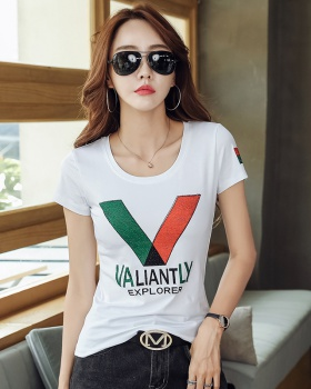 Slim pure cotton T-shirt round neck shirts for women