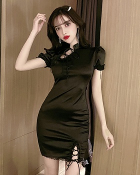 Spring and summer sexy retro split bandage package hip dress