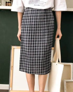Plaid crimp slim Korean style summer skirt