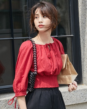 Summer horizontal collar shirt slim red tops for women