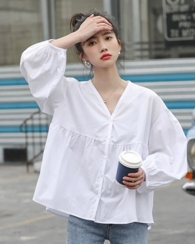 Summer lantern sleeve loose lovely pure shirt