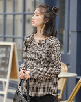 Korean style loose all-match round neck retro shirt