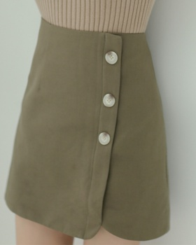 Korean style cotton linen short skirt spring high waist skirt