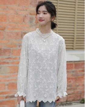 Autumn lace collar shirt stereoscopic tops for women