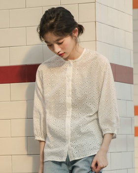 Colors lace shirt summer cotton linen tops