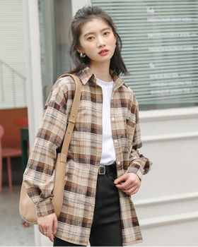 Korean style plaid autumn slim cotton shirt