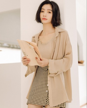 Refreshing shirt autumn small sling 2pcs set