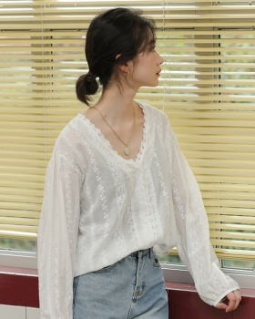 Lace V-neck all-match shirt loose hook flower tops