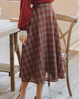 Art minority elastic spring and summer plaid skirt
