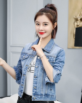 All-match denim tops college style loose coat for women