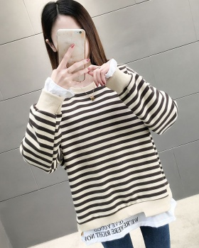 Splice Pseudo-two long sleeve printing stripe stitching tops