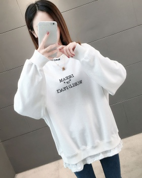 Anime pure long round neck spring printing Pseudo-two hoodie