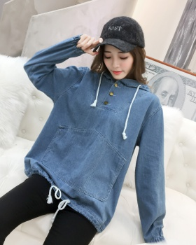 Denim pullover spring and autumn hooded coat