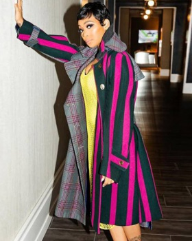 Stripe woolen coat European style overcoat