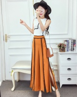 Sleeveless split wide leg pants mixed colors tops 2pcs set