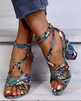 Large yard high-heeled serpentine sandals for women