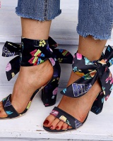 High-heeled bow spring and summer sandals for women