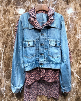 Pseudo-two long floral denim fashion spring jacket