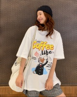 Bottoming printing spring loose Korean style tops