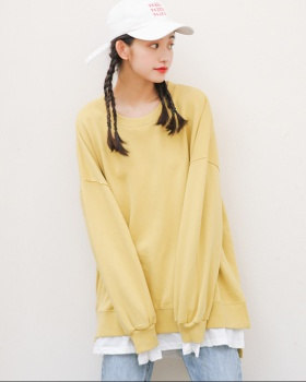 Pseudo-two round neck all-match long pullover splice hoodie