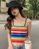 Mixed colors knitted stripe rainbow halter tops