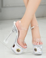 Sunflower fine-root wedding shoes transparent crystal sandals