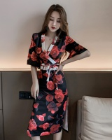 Chinese style kimono pinched waist dress for women