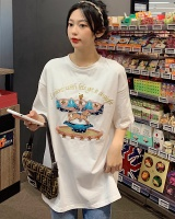 Cartoon embroidery T-shirt loose bottoming shirt