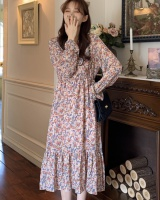 Slim bow tender Korean style chiffon floral loose dress