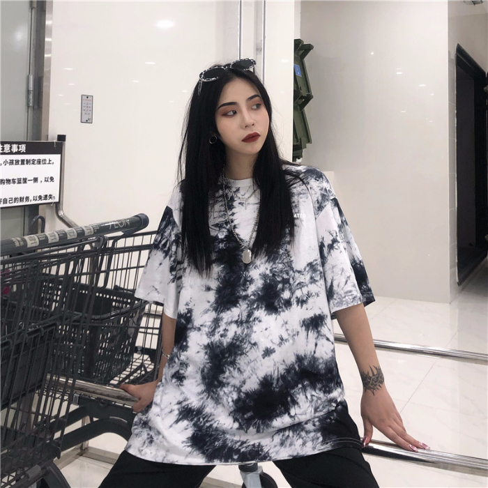 Tie dye summer couple clothes hip-hop tops for women