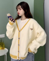 Yellow short Korean style sweater V-neck spring loose coat