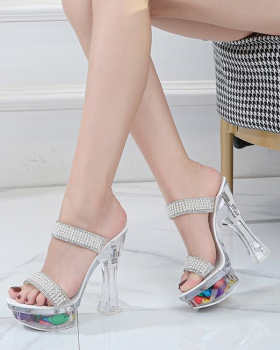 Lady transparent slippers thick platform for women
