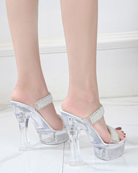 Sexy high-heeled transparent slippers summer lady pearl platform