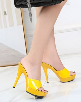 Fashion high-heeled shoes fine-root slippers for women