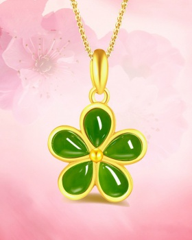 Inlay gold jade plum flower fashion necklace for women