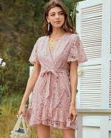 Summer European style lace pink hollow dress for women