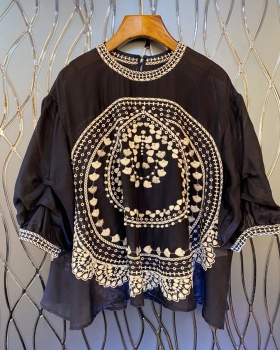 Embroidery loose T-shirt chouzhe European style tops for women