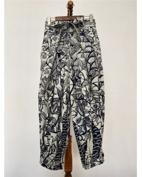 Personality loose printing high waist long pants for women