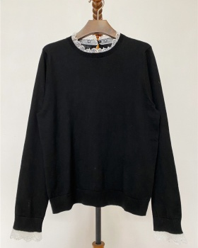 Splice lace tops pullover long sleeve T-shirt