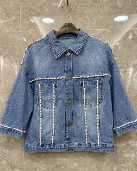 Casual spring fashion loose pearl denim jacket for women