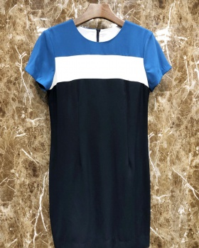 Stripe mixed colors dress temperament T-back for women