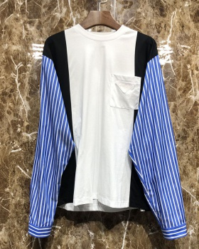 Splice spring stripe tops loose mixed colors T-shirt for women