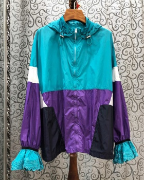 Long hooded zip sports mixed colors jacket