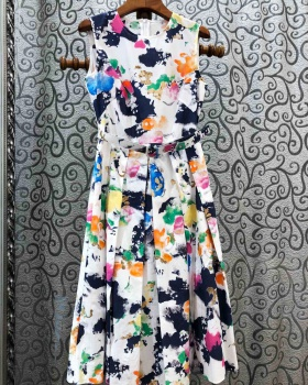 Mixed colors printing long dress pleated dress for women