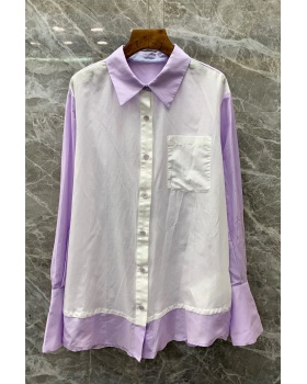 Simple European style shirt long tops for women