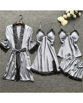 With chest pad summer pajamas sling nightgown 4pcs set for women