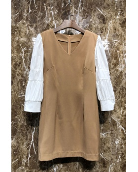 Pseudo-two temperament T-back spring dress for women