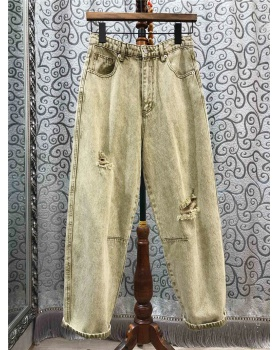 Casual holes long pants spring carrot pants for women