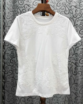 Lace temperament T-shirt European style tops for women