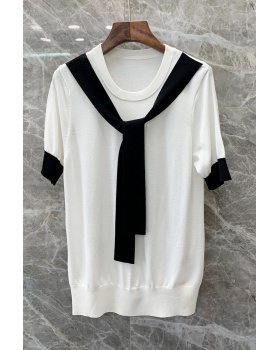 Casual splice tops frenum simple T-shirt for women